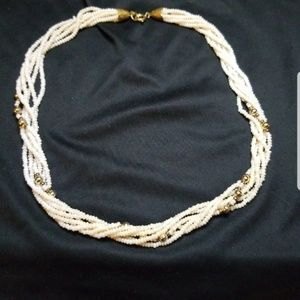 Necklace of 6 Strands Of Pearls Twisted With Gold